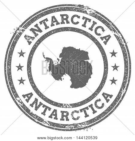 Antarctica Grunge Rubber Stamp Map And Text. Round Textured Country Stamp With Map Outline. Vector I