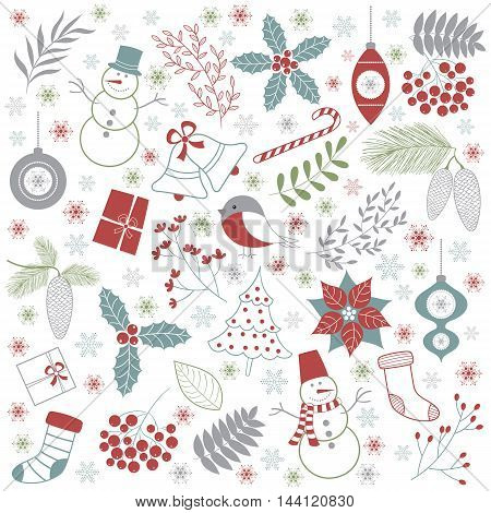 Vector Christmas set with branches, snowman, birds, flowers, snowflakes and leaves