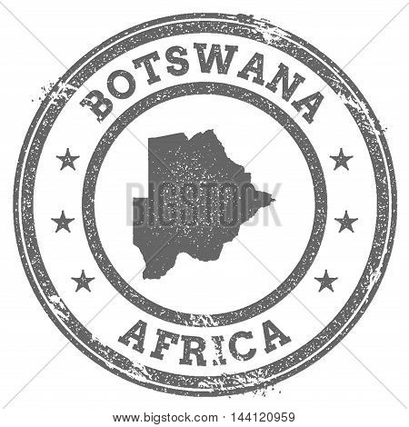 Botswana Grunge Rubber Stamp Map And Text. Round Textured Country Stamp With Map Outline. Vector Ill