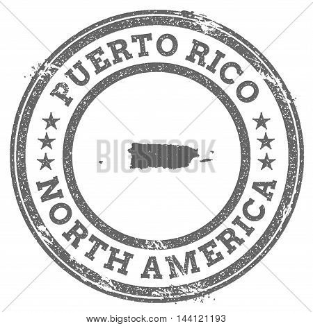Puerto Rico Grunge Rubber Stamp Map And Text. Round Textured Country Stamp With Map Outline. Vector