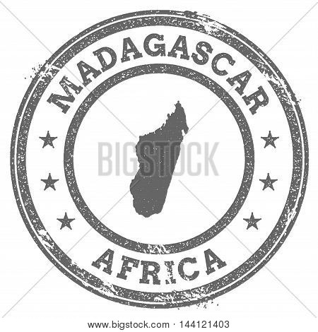Madagascar Grunge Rubber Stamp Map And Text. Round Textured Country Stamp With Map Outline. Vector I