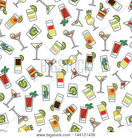 Seamless pattern with colorful drinks vector illustration
