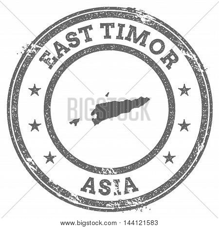 Timor-leste Grunge Rubber Stamp Map And Text. Round Textured Country Stamp With Map Outline. Vector