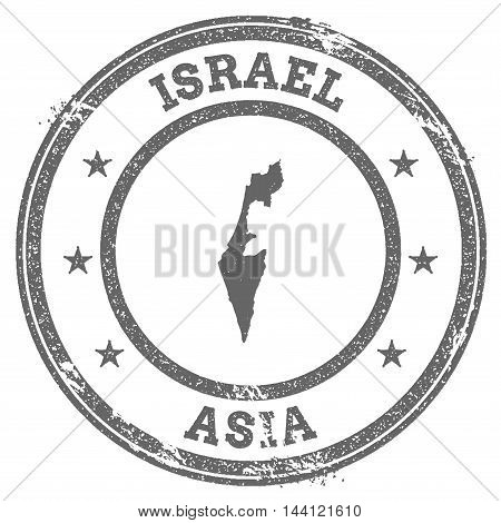 Israel Grunge Rubber Stamp Map And Text. Round Textured Country Stamp With Map Outline. Vector Illus