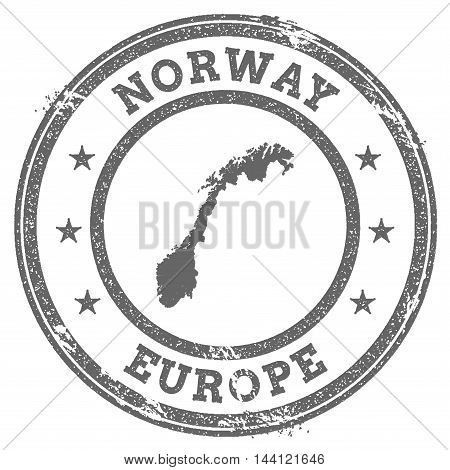 Norway Grunge Rubber Stamp Map And Text. Round Textured Country Stamp With Map Outline. Vector Illus