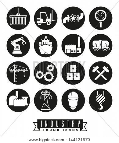 Industry icon set. Collection of 16 solid black round industry themed vector icons