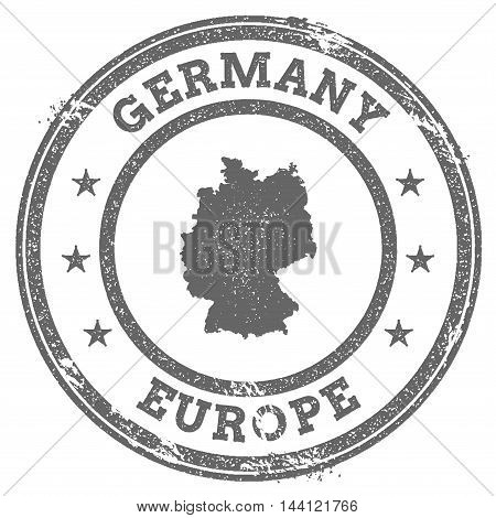 Germany Grunge Rubber Stamp Map And Text. Round Textured Country Stamp With Map Outline. Vector Illu
