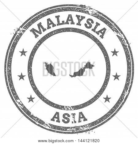 Malaysia Grunge Rubber Stamp Map And Text. Round Textured Country Stamp With Map Outline. Vector Ill