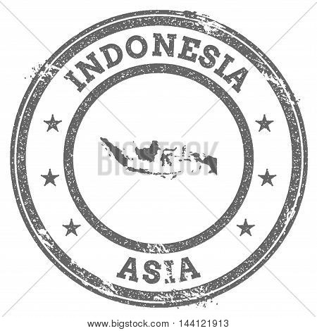 Indonesia Grunge Rubber Stamp Map And Text. Round Textured Country Stamp With Map Outline. Vector Il
