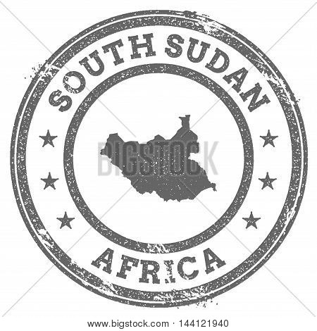 South Sudan Grunge Rubber Stamp Map And Text. Round Textured Country Stamp With Map Outline. Vector
