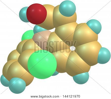 Diclofenac is a nonsteroidal anti-inflammatory drug taken or applied to reduce inflammation and as an analgesic reducing pain in certain conditions. 3d illustration