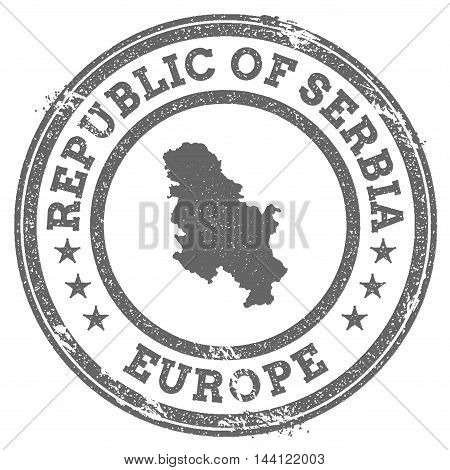 Serbia Grunge Rubber Stamp Map And Text. Round Textured Country Stamp With Map Outline. Vector Illus