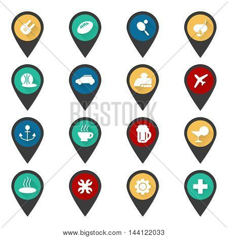 Navigation sign with flat popular travel icons vector set
