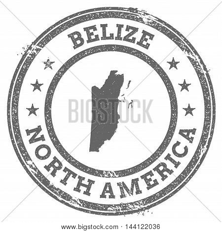 Belize Grunge Rubber Stamp Map And Text. Round Textured Country Stamp With Map Outline. Vector Illus