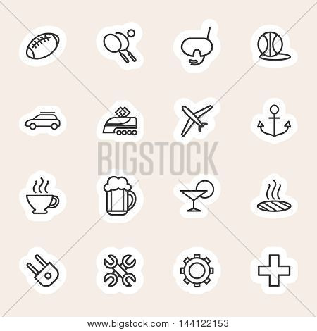 Popular travel and vacation icons set. Line icons stickers