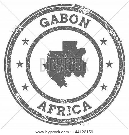 Gabon Grunge Rubber Stamp Map And Text. Round Textured Country Stamp With Map Outline. Vector Illust