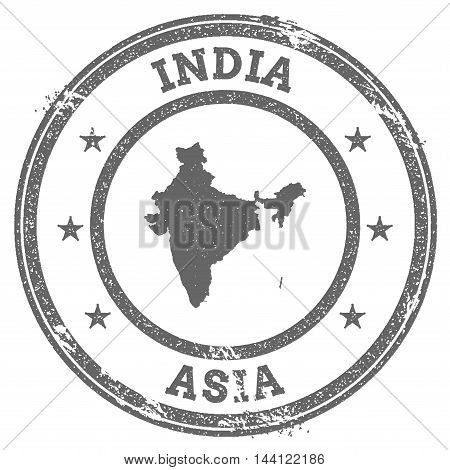 India Grunge Rubber Stamp Map And Text. Round Textured Country Stamp With Map Outline. Vector Illust
