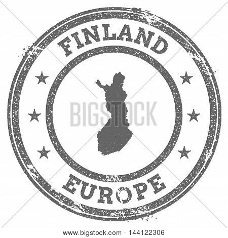 Finland Grunge Rubber Stamp Map And Text. Round Textured Country Stamp With Map Outline. Vector Illu