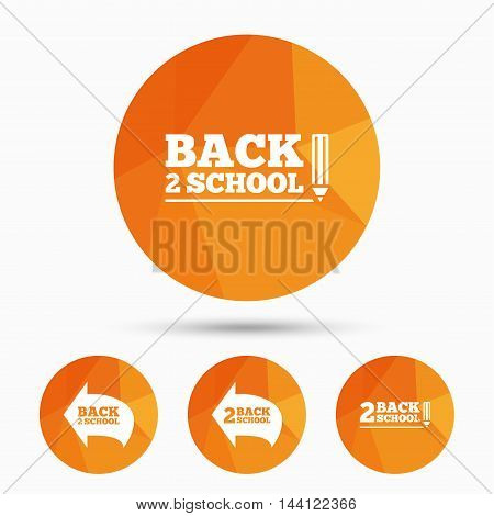 Back to school icons. Studies after the holidays signs. Pencil symbol. Triangular low poly buttons with shadow. Vector