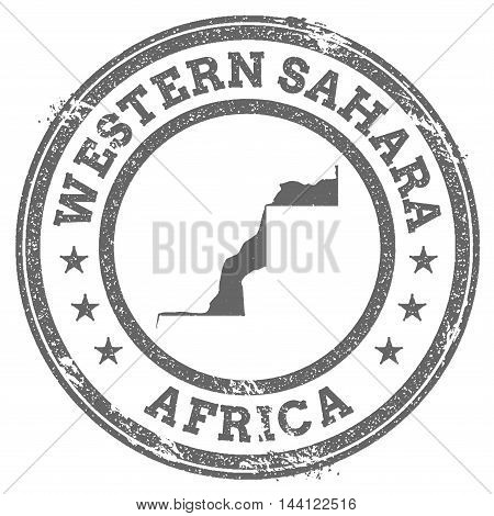 Western Sahara Grunge Rubber Stamp Map And Text. Round Textured Country Stamp With Map Outline. Vect