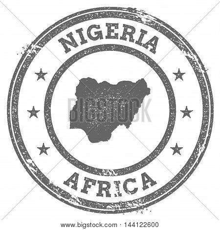 Nigeria Grunge Rubber Stamp Map And Text. Round Textured Country Stamp With Map Outline. Vector Illu
