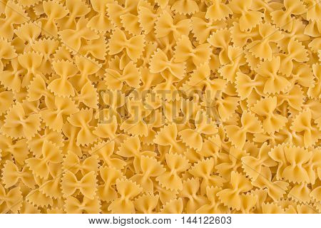Italian Farfalle Pasta raw food background or texture close up