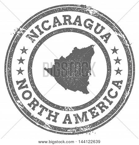Nicaragua Grunge Rubber Stamp Map And Text. Round Textured Country Stamp With Map Outline. Vector Il