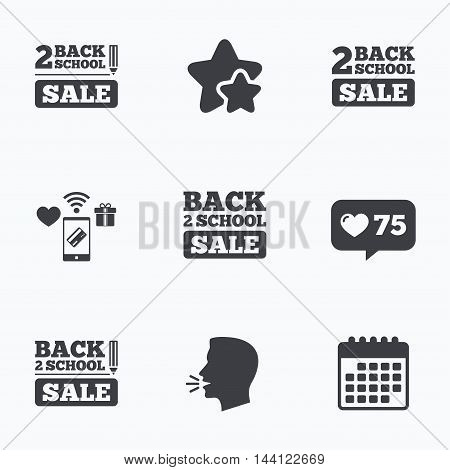 Back to school sale icons. Studies after the holidays signs. Pencil symbol. Flat talking head, calendar icons. Stars, like counter icons. Vector