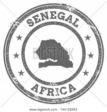 Senegal Grunge Rubber Stamp Map And Text. Round Textured Country Stamp With Map Outline. Vector Illu