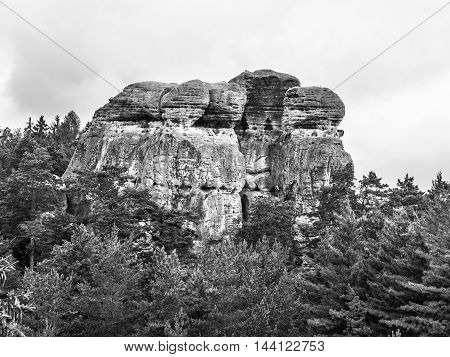Sandstone cliff in Bohemian Paradise, or Cesky Raj, in Czech Republic. Black and white image.