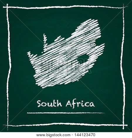 South Africa Outline Vector Map Hand Drawn With Chalk On A Green Blackboard. Chalkboard Scribble In