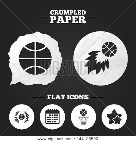 Crumpled paper speech bubble. Basketball sport icons. Ball with basket and fireball signs. Laurel wreath symbol. Paper button. Vector