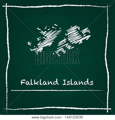 Falkland Islands (malvinas) Outline Vector Map Hand Drawn With Chalk On A Green Blackboard. Chalkboa