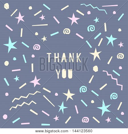 Card Template. Thank You. Abstract Handmade Letters Pattern Background.