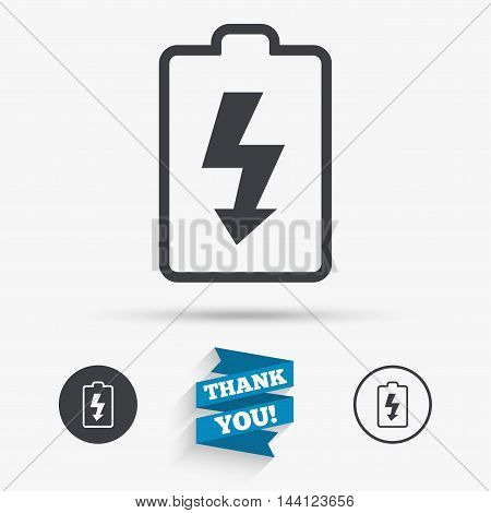 Battery charging sign icon. Lightning symbol. Flat icons. Buttons with icons. Thank you ribbon. Vector