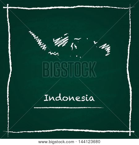 Indonesia Outline Vector Map Hand Drawn With Chalk On A Green Blackboard. Chalkboard Scribble In Chi