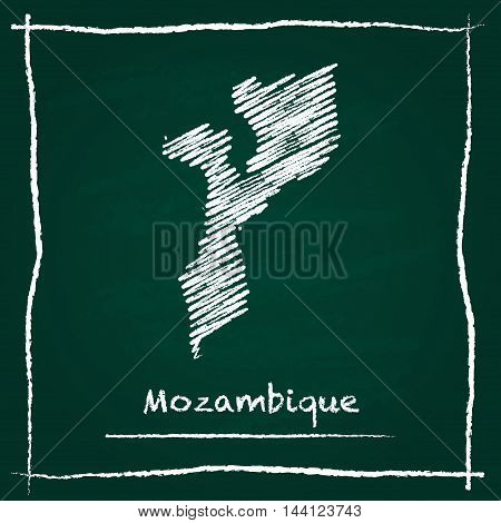 Mozambique Outline Vector Map Hand Drawn With Chalk On A Green Blackboard. Chalkboard Scribble In Ch