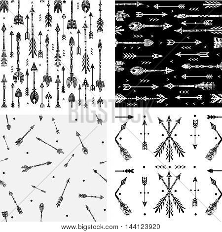 Seamless pattern with tribal arrows