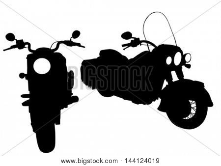 Big motor bike on white background
