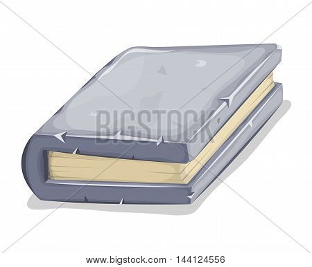 Illustration of a cartoon book with stone cover