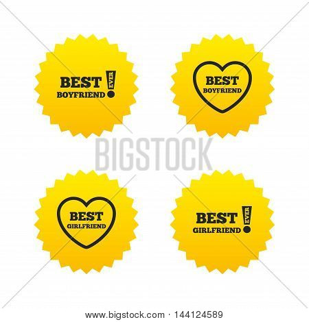 Best boyfriend and girlfriend icons. Heart love signs. Awards with exclamation symbol. Yellow stars labels with flat icons. Vector