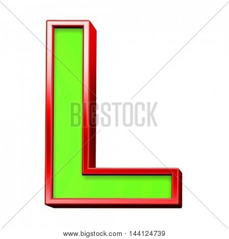 One letter from green with red frame alphabet set, isolated on white. 3D illustration.