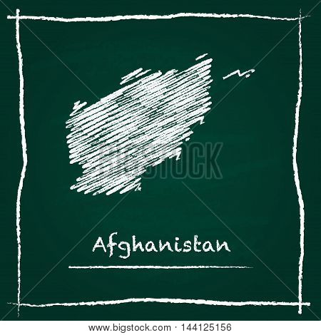 Afghanistan Outline Vector Map Hand Drawn With Chalk On A Green Blackboard. Chalkboard Scribble In C