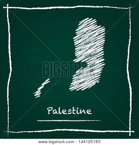 Palestine Outline Vector Map Hand Drawn With Chalk On A Green Blackboard. Chalkboard Scribble In Chi