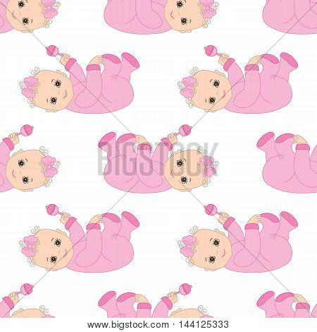 Vector seamless pattern with Infant baby girl