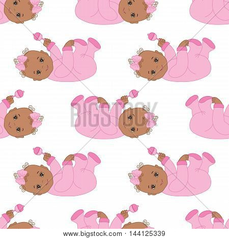 Vector African American seamless pattern with infant baby girl