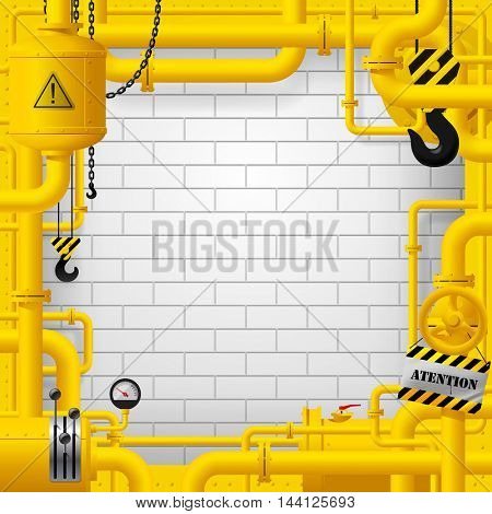 Industrial frame with yellow pipelines and other objects against the white brick wall background. Contains the Clipping Path