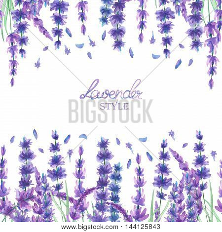 A card template, frame border for a text with the watercolor lavender flowers, hand-drawn on a white background, a greeting card, a decoration postcard, wedding invitation