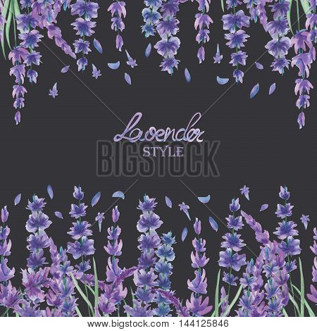 A card template, frame border for a text with the watercolor lavender flowers, hand-drawn on a dark background, a greeting card, a decoration postcard, wedding invitation
