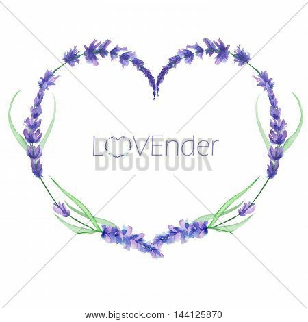 A heart frame, wreath, frame border for a text with the watercolor lavender flowers, hand-drawn on a white background, a greeting card, a decoration postcard, wedding invitation
